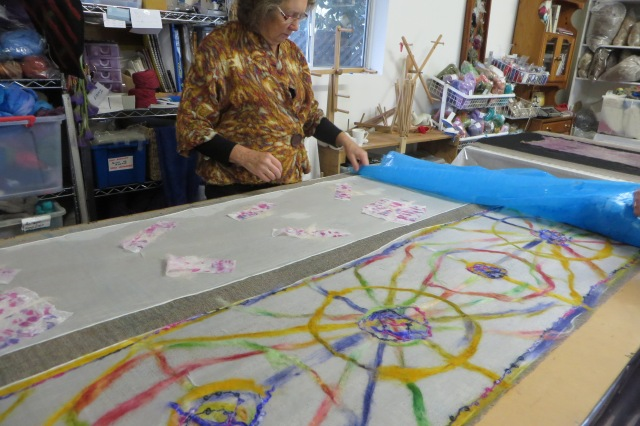 Inspecting fabric in the process of felting