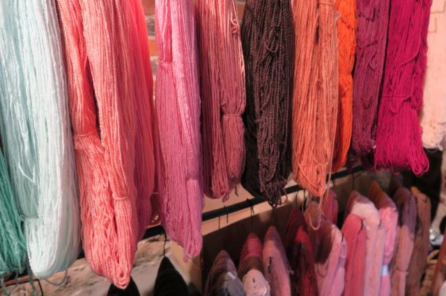 Wool skeins in the Tarndwarncoort wool shop