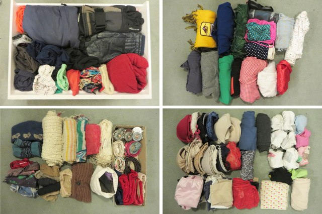 The clothes in my chest of drawers. From left to right, top to bottom: camping and ski clothes; different activity clothes (like swimming, yoga) and PJs; scarves, belts and pantyhose; bras, socks, jocks and hankies. Super interesting stuff, amirite?