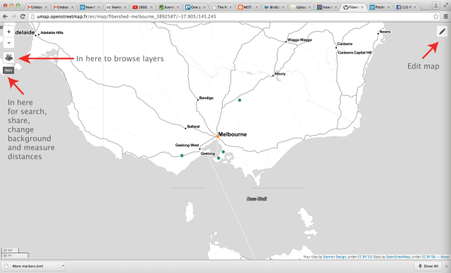 The public view of my Fibershed map with basic functions labelled