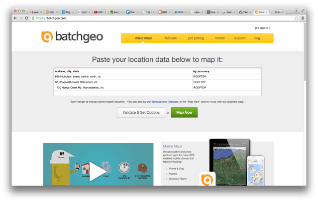 Entering data into BatchGeo