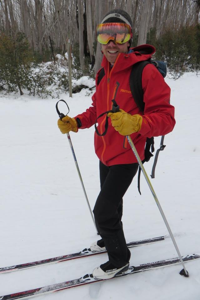 Basic ski gear: rain coat over thermals and...gardening gloves?