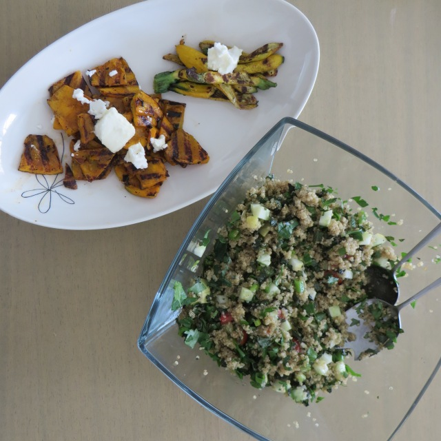 Grilled pumpkin and baby zucchini with quinoa tabbouleh
