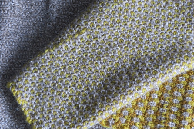 Detail of the three stitch block patterns used in this cowl scarf