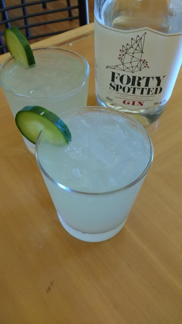Mountain pepper gin with fresh cucumber juice