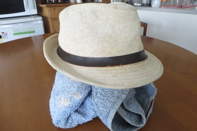 Hat with towel inside to reshape it