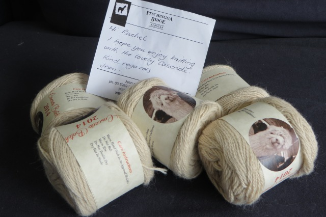 My knitalong yarn is 5 ply cream suri alpaca. Grown on the Mornington Peninsula by Pitchingga Ridge, milled in Macclesfield by Fibre Naturally.