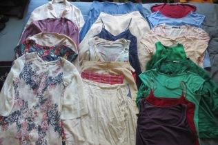 Summer wardrobe: 1 work blazer, 2 work skirts, 1 work trousers, 2 work dresses, 4 work blouses/tops, 1 dressy blouse, 1 dressy trousers, 1 dressy skirt, 3 sweaters, 4 casual tops, 2 casual pants, 2 casual dresses, 1 coats, 1 evening shawl.