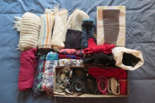 Winter and summer weight scarves, beanies, gloves, belts and pantyhose.