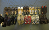 Top row: Casual sandles, dressy sandles, flats, dressy shoes, wedding heels, dancing heels, water shoes Bottom row: Long boots, ankle boots, sneakers, high tops, runners, hiking boots