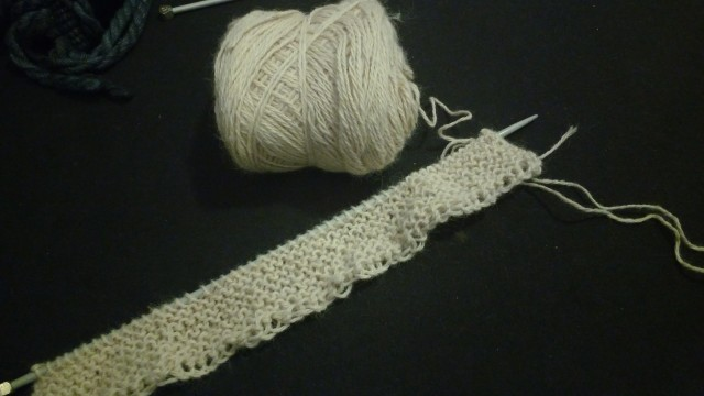 My alpaca yarn, swatching garter stitch on 3.5mm needles