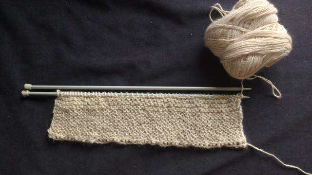 Second stage of swatch; garter on 5mm needles