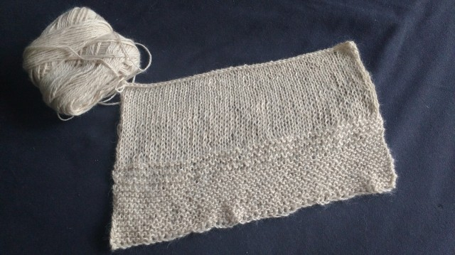 Finished first swatch. Messy cast on, tight cast off.