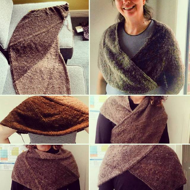 Suz's finished shawl from different angles